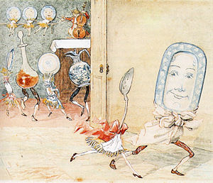 Hey Diddle Diddle - In this Randolph Caldecott rendition, a dish, spoon, and other utensils are anthropomorphized while a cat in a red jacket holds a fiddle in the manner of a string bass.