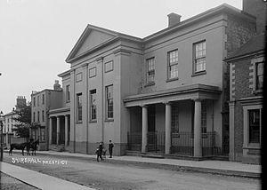 Presteigne - The Shire Hall, Presteigne; photo taken by Percy Benzie Abery c. 1910s.