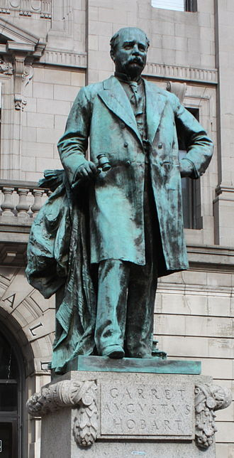 Paterson City Hall - In front of City hall, the statue of Garrett Hobart, 24th Vice President of the US, and famous son of Paterson