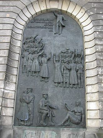 Karl Liebknecht - Karl Liebknecht proclaims the German Free Socialist Republic, 9 November 1918 (Mural, Hochschule für Musik, Berlin: the relief is one of a series on socialist themes on this building surviving from the German Democratic Republic)