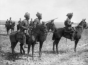 2nd Indian Cavalry Division - Forward scouts of the 9th Hodson's Horse pause to consult a map, near Vraignes, France in April 1917