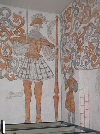 Ogier the Dane - Ogier the Dane (left) on a church mural from the 16th century in Skævinge, Denmark