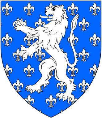 Baron Holand - Arms of de Holland, Baron Holand: Azure semée-de-lys argent, a lion rampant of the second