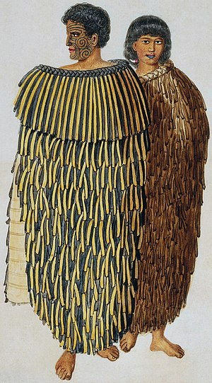 Māori traditional textiles - An 1847 portrait of Hone Heke and his wife Hariata wearing cloaks made from Phormium tenax fibre