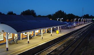 Hook railway station - The eastbound platform at night