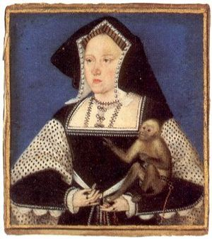 1526 in art - Image: Horenbout Catherine of Aragon with a monkey