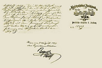 Hotel Graf Stadion (Vienna) - Historic document from 7 August 1897 on the foundation of Hotel Graf Stadion issued by the Vienna city magistrate for the 8th district.