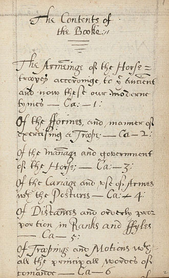 Gervase Markham - Manuscript for The cavallarie, or knowledge belonging to a captaine of horse, 1626