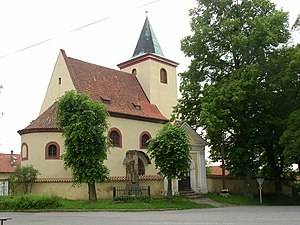 Church of St. Wenceslaus from 12th century in Hrusice