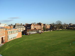 Hughes Hall, Cambridge - Hughes Hall and the University Cricket Pitch
