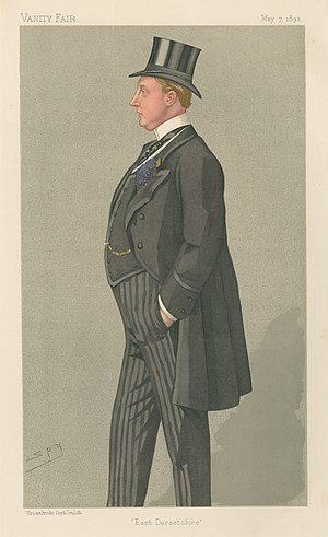 """Humphrey Sturt, 2nd Baron Alington - """"East Dorsetshire"""". Caricature by Spy published in Vanity Fair in 1892."""