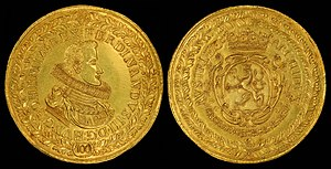 Ferdinand III, Holy Roman Emperor - Ferdinand III depicted on a 100 Ducat gold coin (1629)