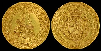 Ducat - Ferdinand III depicted on a 100 Hungarian Ducat (1629)