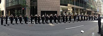Connecticut Hurricanes Drum and Bugle Corps - The Hurricanes Hornline warming up at the Israeli Day Parade in New York City