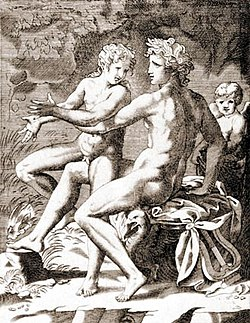 Apollo and HyacinthusJacopo Caraglio; 16th c. Italian engraving