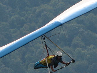 Prone position - Hang glider pilot in harness.