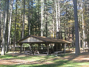 Buffalo Rock State Park - A picnic shelter with a stone fireplace