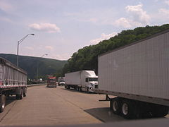 I-80 at Delaware Water Gap toll bridge toll booths in Pennsylvania. Truck traffic on Pennsylvania highways is double the national average.