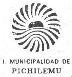 Coat of arms of Pichilemu - 1987 black and white reproduction of the official logo and seal of the local government.