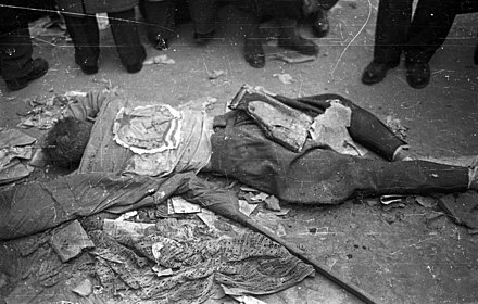 Body of executed Party member at Central Committee of the Communist Party II. Janos Pal papa (Koztarsasag) ter, a parthaz ostromakor kivegzett vedo holtteste. Fortepan 24462.jpg