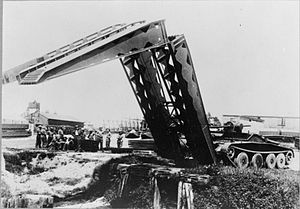 Armoured vehicle-launched bridge - Circa 1943, a Covenanter deploys its bridge.