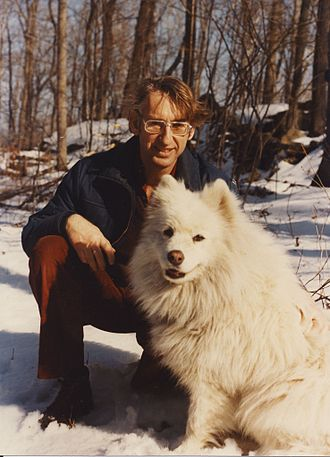 J. B. Gunn - Ian Gunn with his dog Tanya. Except for his time at UBC, where they were banned from faculty housing, he always had at least one dog, usually a Samoyed.
