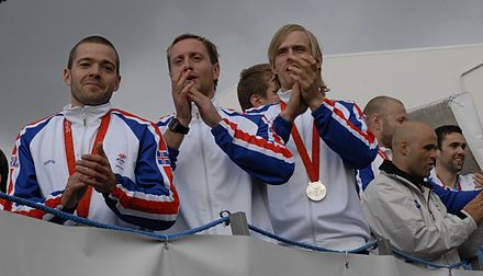The Iceland national handball team (pictured) won the silver medal at the 2008 Summer Olympics. Handball is considered Iceland's national sport.[203] - Iceland