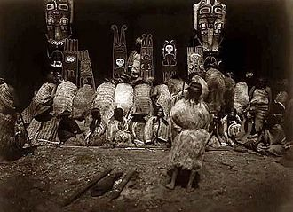 """Dantsikw - Kwakwaka'wakw power boards in Edward Curtis' """"In the Land of the Head Hunters."""