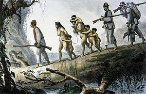 Guaraní people - A Guaraní family captured by slave hunters. By Jean Baptiste Debret