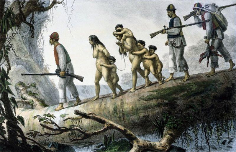 Arquivo: Soldados indígenas da Província de Coritiba Acompanhamento Prisoners.jpg Nativa