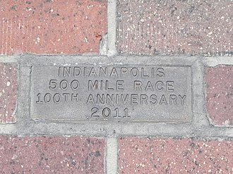 2011 Indianapolis 500 - A ceremonial golden brick was installed at the start/finish line of the track to commemorate the 100th anniversary