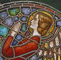 Interieur. Detail glas-in-loodraam van Toorop bij glasatelier Wiegen, Nijmegen - Nijmegen - 20337457 - RCE.jpg
