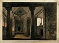 Interior of a Hindu temple, Deo, Bihar. Coloured aquatint by Wellcome V0050487.jpg