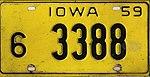 Iowa 1959 license plate - Number 6-3388.jpg