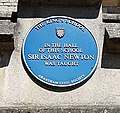 Isaac Newton blue plaque at King's School (cropped).jpg