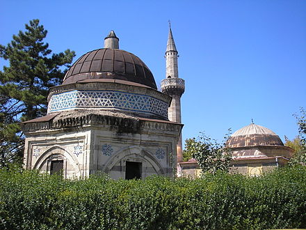 Aladza Mosque and its turbe. Isak Bey Turbe Aladja Mosque Skopje.JPG