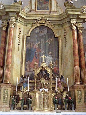 Church of St. Stephen Harding in Apátistvánfalva - The High Altar (Legend of Stephen Harding-Mural).