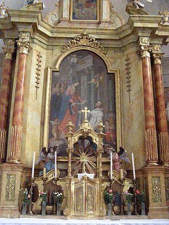 Church of St. Stephen Harding in Apátistvánfalva - The High Altar (Legend of Stephen Harding-Mural).