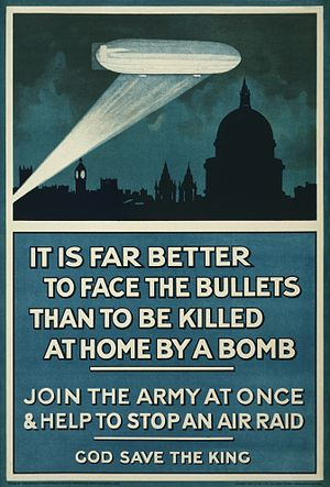 German strategic bombing during World War I - British recruiting poster from 1915
