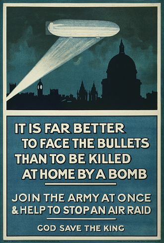 Civil defense - British First World War poster, bringing attention to the threat posed by aerial bombardment from German Zeppelins.