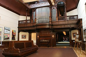James J. Hill House - Wide view of pipe organ in the art gallery