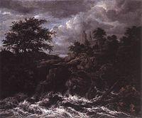 Jacob Isaacksz. van Ruisdael - Waterfall by a Church - WGA20508.jpg