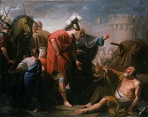 Jacques Gamelin -  Alexandre et Diogène, the artist is depicting the scene when Alexander ask Diogenes - Is there anything I can do for you? and Diogenes ansvers: - yes, stand out of my sun.