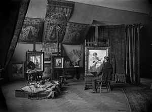 Georgios Jakobides - Jakobides in his studio, photographed by Carl Teufel, 1883