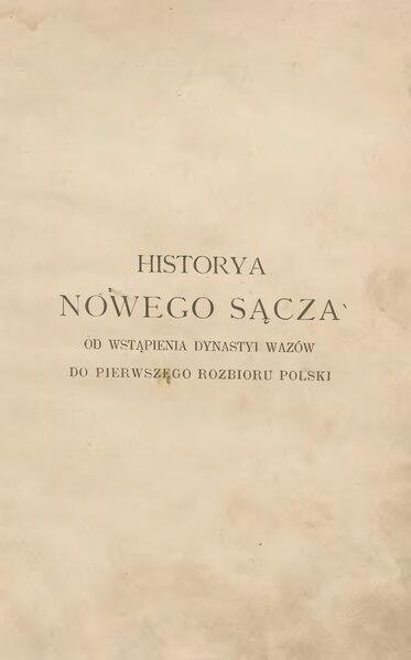 File:Jan Sygański - Historya Nowego Sącza.djvu