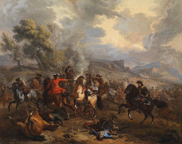 Walka jazdy podczas hiszpańskiej wojny sukcesyjnej (mal. Jan van Huchtenburg) / Źródło: Wikimedia Commons