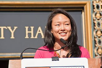 Jane Kim - Kim speaking in front of City Hall on Bike-to-Work Day in 2010