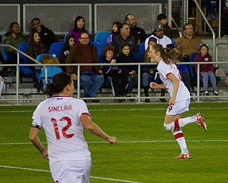 Janine Beckie - Beckie celebrates after scoring in a friendly