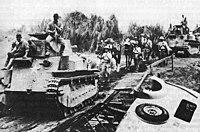 Japanese light tanks moving toward Manila