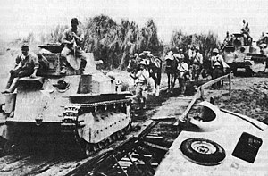 Military history of the Philippines during World War II - Advancing Japanese troops moving toward Manila.